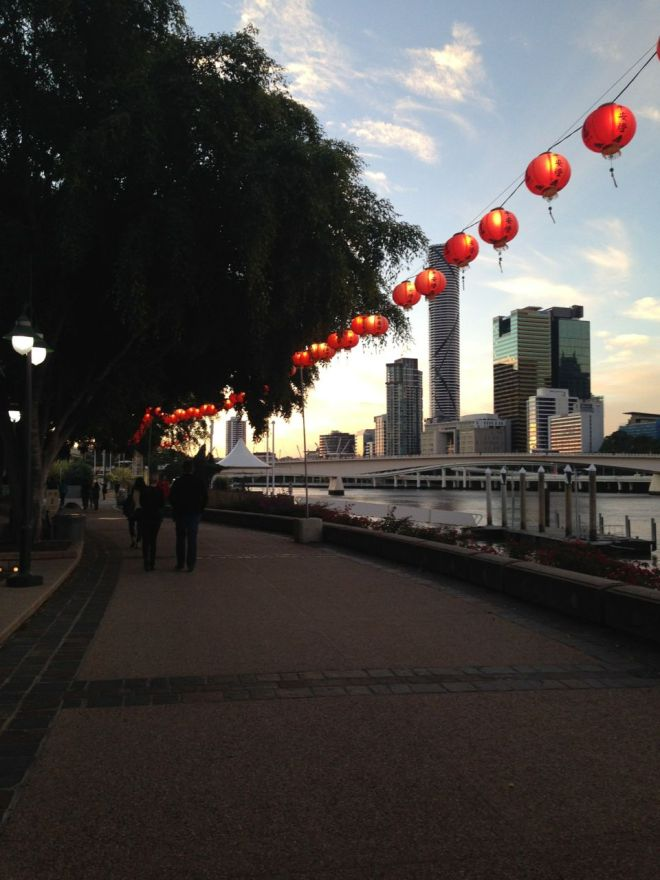 We visited during the annual Budha fair. Hundreds of red paper lanterns were string up along the water front.