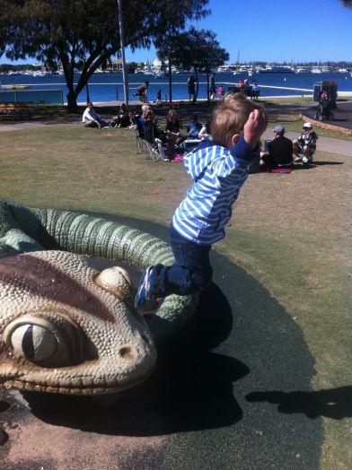 Large lizard leap.